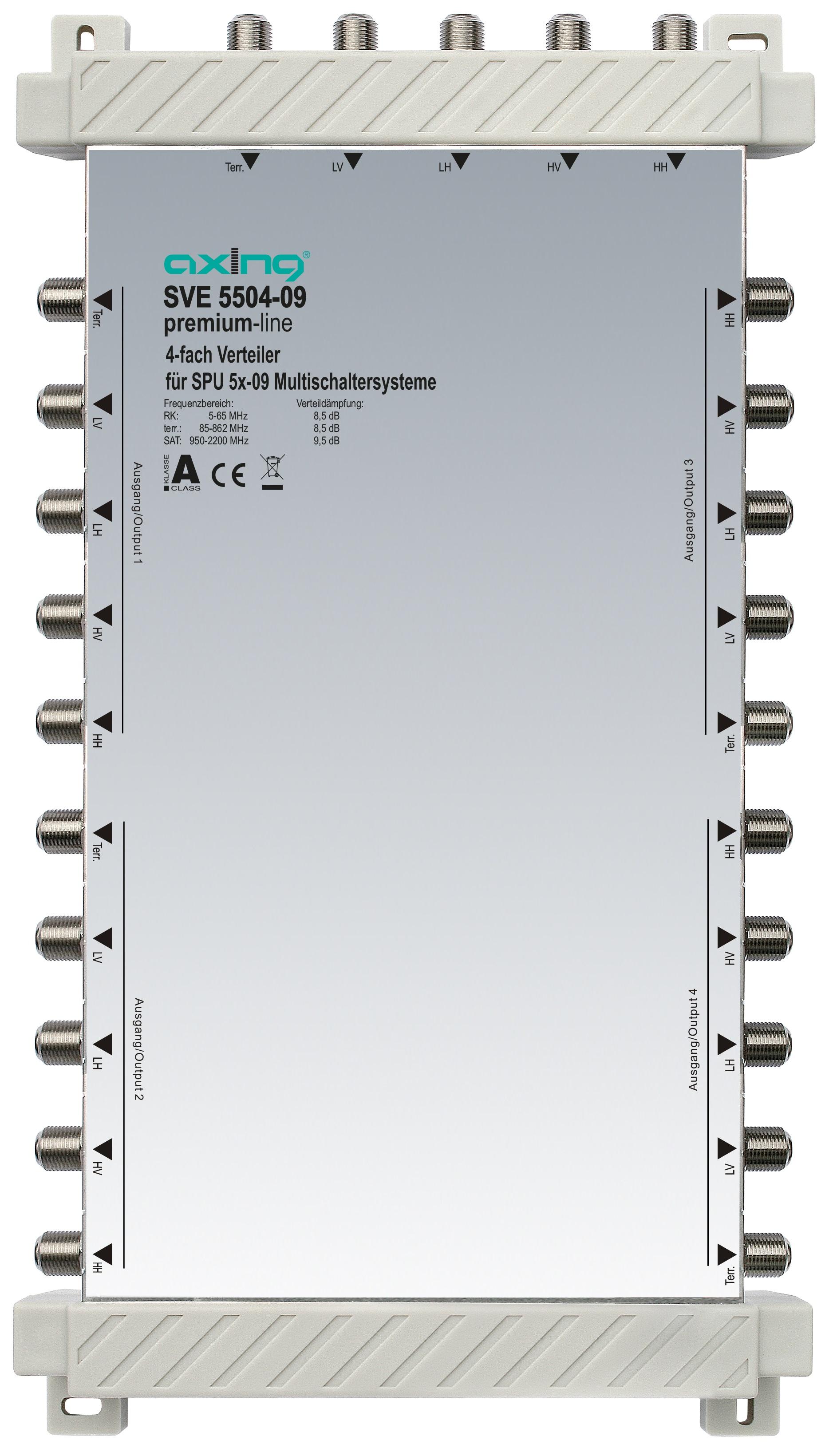 1 Stk 4-fach Verteiler, 5 in 5, 5 bis 2200 MHz, SVE5504-09 HSATSV409A