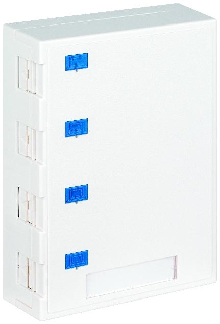 1 Stk Aufputz-Gehäuse leer für 4 Module (SFA)(SFB), RAL9010 HSED04AW3S