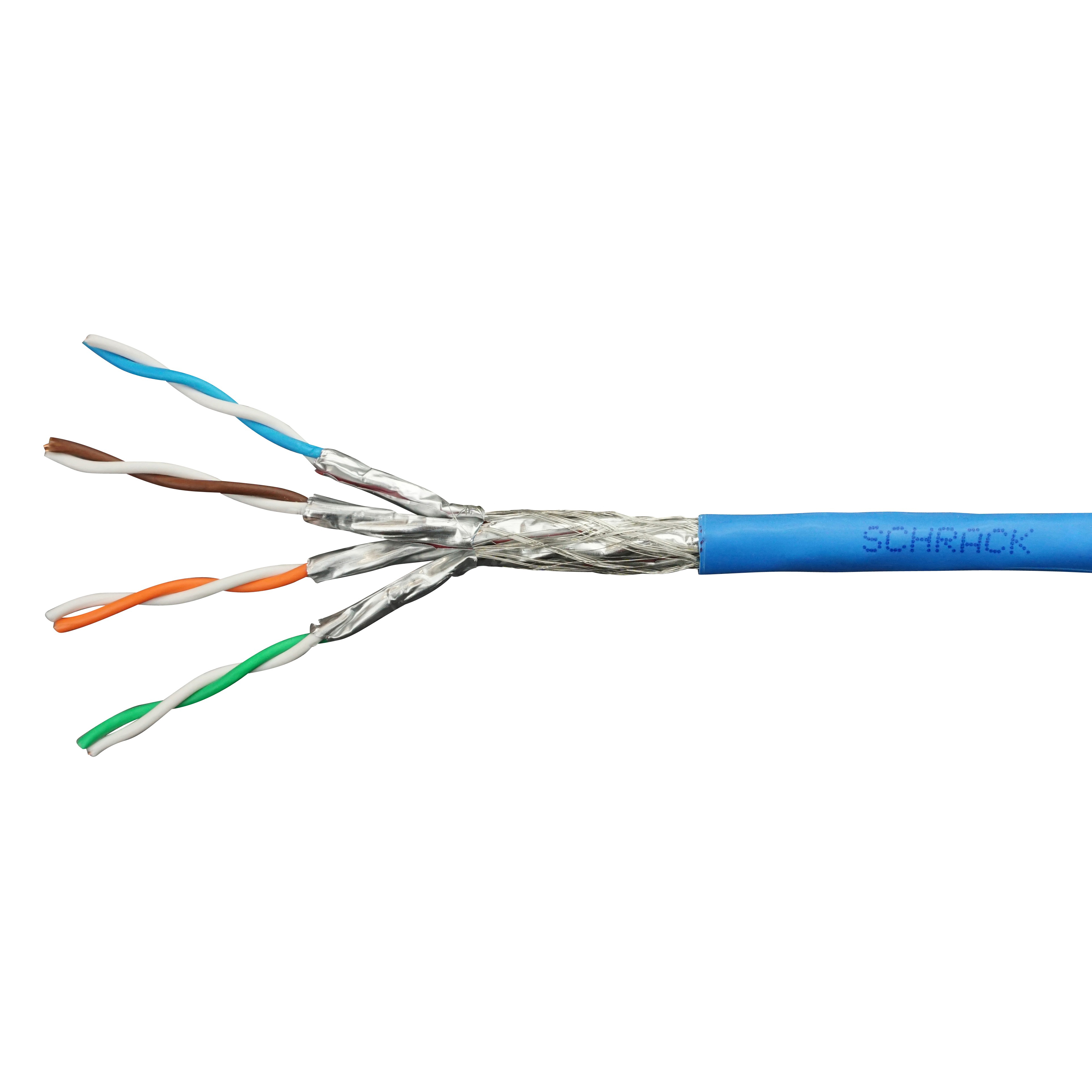 100 m S/FTP Kabel Cat.7, 4x2xAWG23/1, 1000Mhz, LS0H-3, 30%, blau HSEKP4233P