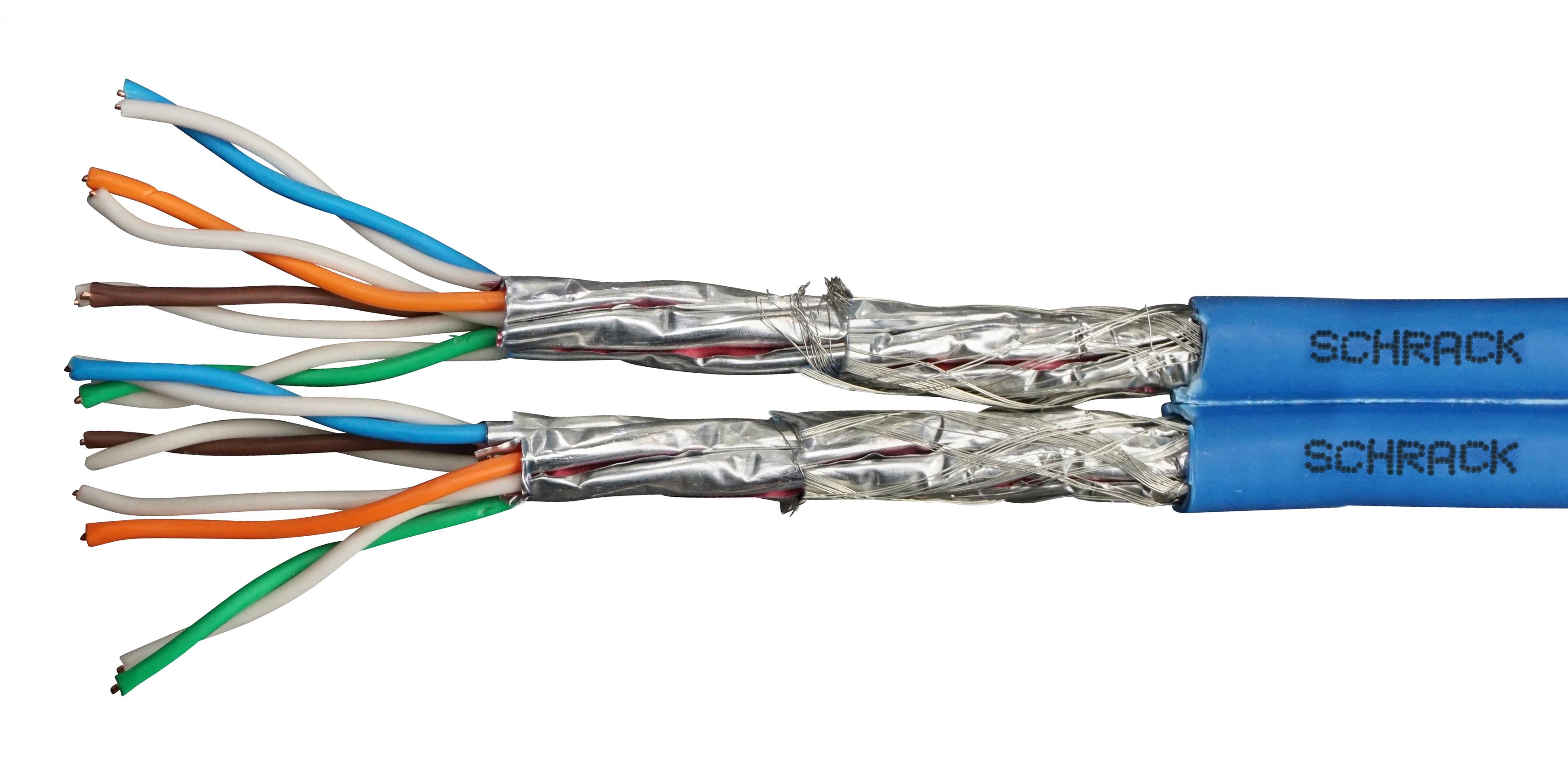 100 m S/FTP Kabel Cat.7, 2x(4x2xAWG23/1), 1000Mhz, LS0H-3, 30% HSEKP8233P