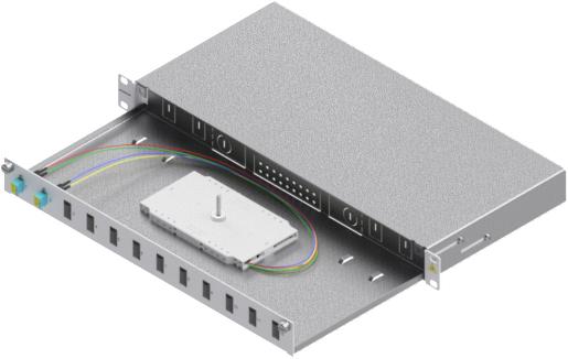 1 Stk LWL Spleißbox, 4Fasern,LC,50/125µm OM3, ausziehbar,19,1HE HSELS043LG