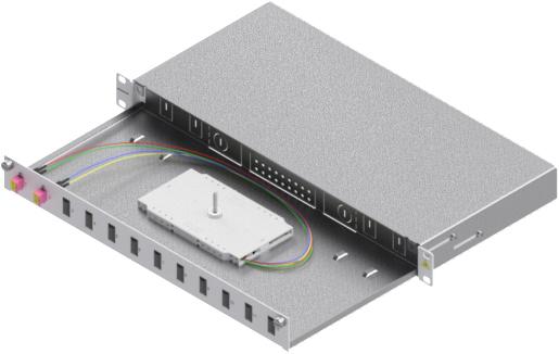 1 Stk LWL Spleißbox, 4Fasern,LC,50/125µm OM4, ausziehbar,19,1HE HSELS044LG