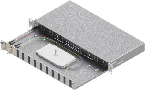 1 Stk LWL Spleißbox, 4Fasern,SC,50/125µm OM2, ausziehbar,19,1HE HSELS045CG