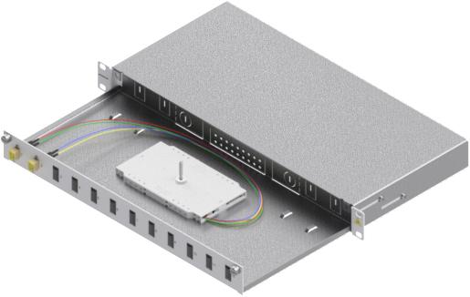 1 Stk LWL Spleißbox, 4Fasern,LC,50/125µm OM2, ausziehbar,19,1HE HSELS045LG