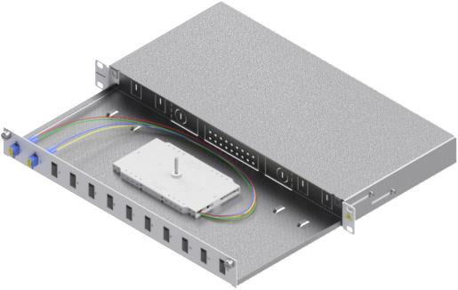1 Stk LWL Spleißbox, 4Fasern,LC, 9/125µm OS2, ausziehbar,19,1HE HSELS049LG