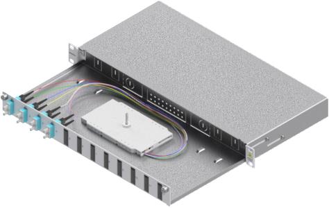 1 Stk LWL Spleißbox, 8Fasern,SC,50/125µm OM3, ausziehbar,19,1HE HSELS083CG