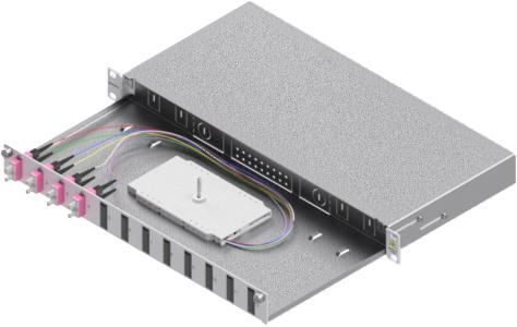 1 Stk LWL Spleißbox, 8Fasern,SC,50/125µm OM4, ausziehbar,19,1HE HSELS084CG