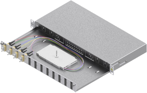 1 Stk LWL Spleißbox, 8Fasern,SC,50/125µm OM2, ausziehbar,19,1HE HSELS085CG