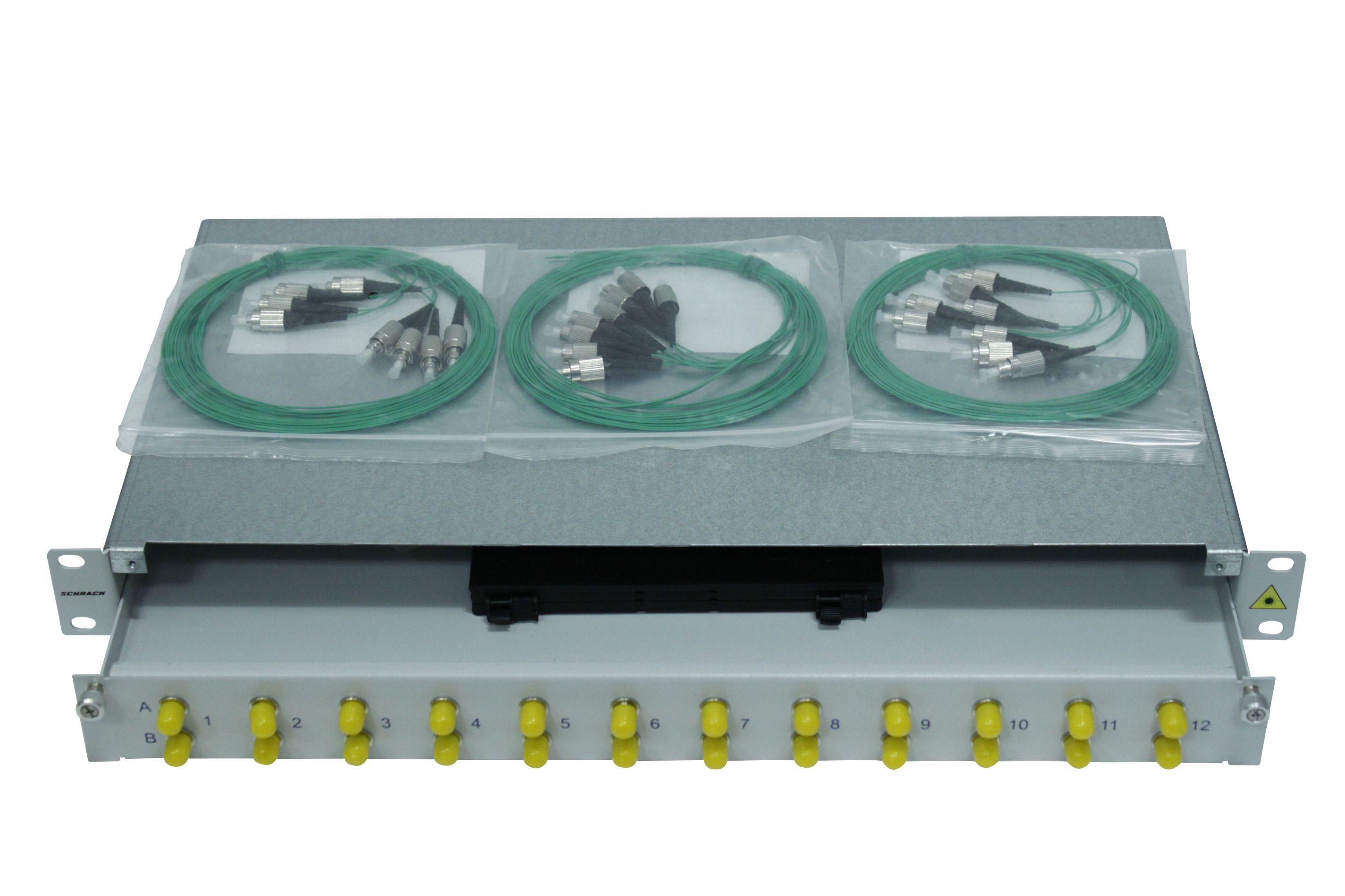 1 Stk LWL Spleißbox, 8Fasern,FC,50/125µm OM2, ausziehbar,19,1HE HSELS085FG