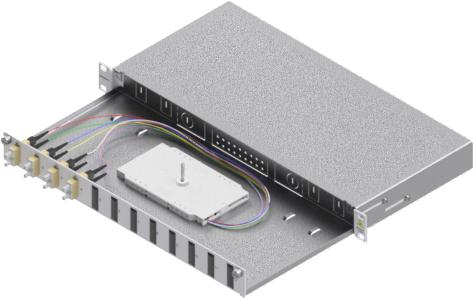 1 Stk LWL Spleißbox, 8Fasern,SC,62,5/125µm OM1, ausziehb,19,1HE HSELS086CG