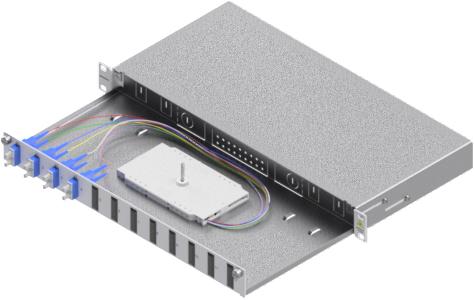 1 Stk LWL Spleißbox, 8Fasern,SC, 9/125µm OS2, ausziehbar,19,1HE HSELS089CG