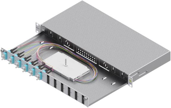 1 Stk LWL Spleißbox,12Fasern,SC,50/125µm OM3, ausziehbar,19,1HE HSELS123CG