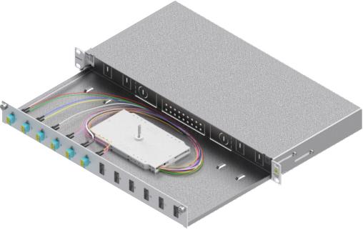 1 Stk LWL Spleißbox,12Fasern,LC,50/125µm OM3, ausziehbar,19,1HE HSELS123LG