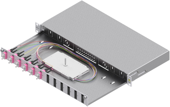 1 Stk LWL Spleißbox,12Fasern,SC,50/125µm OM4, ausziehbar,19,1HE HSELS124CG