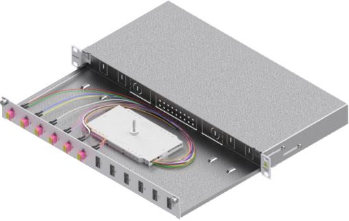 1 Stk LWL Spleißbox,12Fasern,LC,50/125µm OM4, ausziehbar,19,1HE HSELS124LG