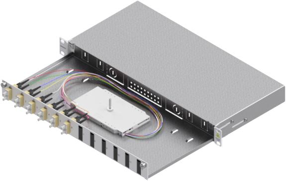 1 Stk LWL Spleißbox,12Fasern,SC,50/125µm OM2, ausziehbar,19,1HE HSELS125CG