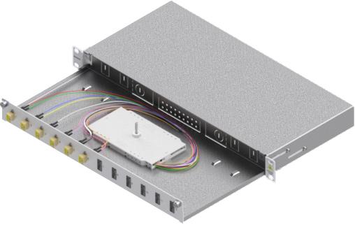1 Stk LWL Spleißbox,12Fasern,LC,50/125µm OM2, ausziehbar,19,1HE HSELS125LG