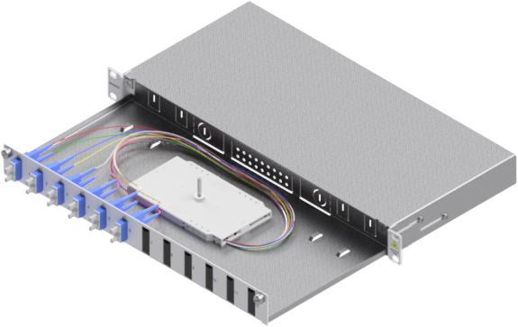 1 Stk LWL Spleißbox,12Fasern,SC, 9/125µm OS2, ausziehbar,19,1HE HSELS129CG