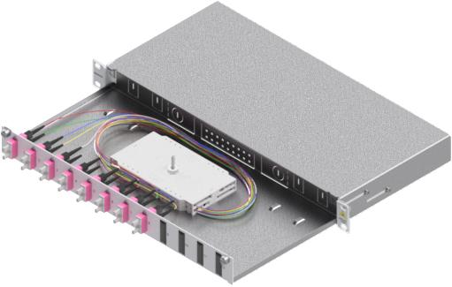 1 Stk LWL Spleißbox,16Fasern,SC,50/125µm OM4, ausziehbar,19,1HE HSELS164CG