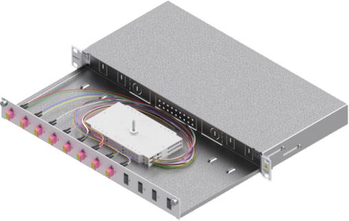 1 Stk LWL Spleißbox,16Fasern,LC,50/125µm OM4, ausziehbar,19,1HE HSELS164LG
