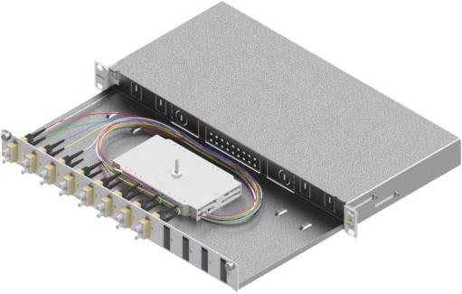 1 Stk LWL Spleißbox,16Fasern,SC,50/125µm OM2, ausziehbar,19,1HE HSELS165CG