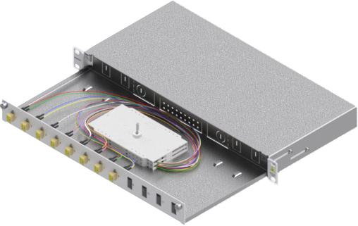 1 Stk LWL Spleißbox,16Fasern,LC,50/125µm OM2, ausziehbar,19,1HE HSELS165LG