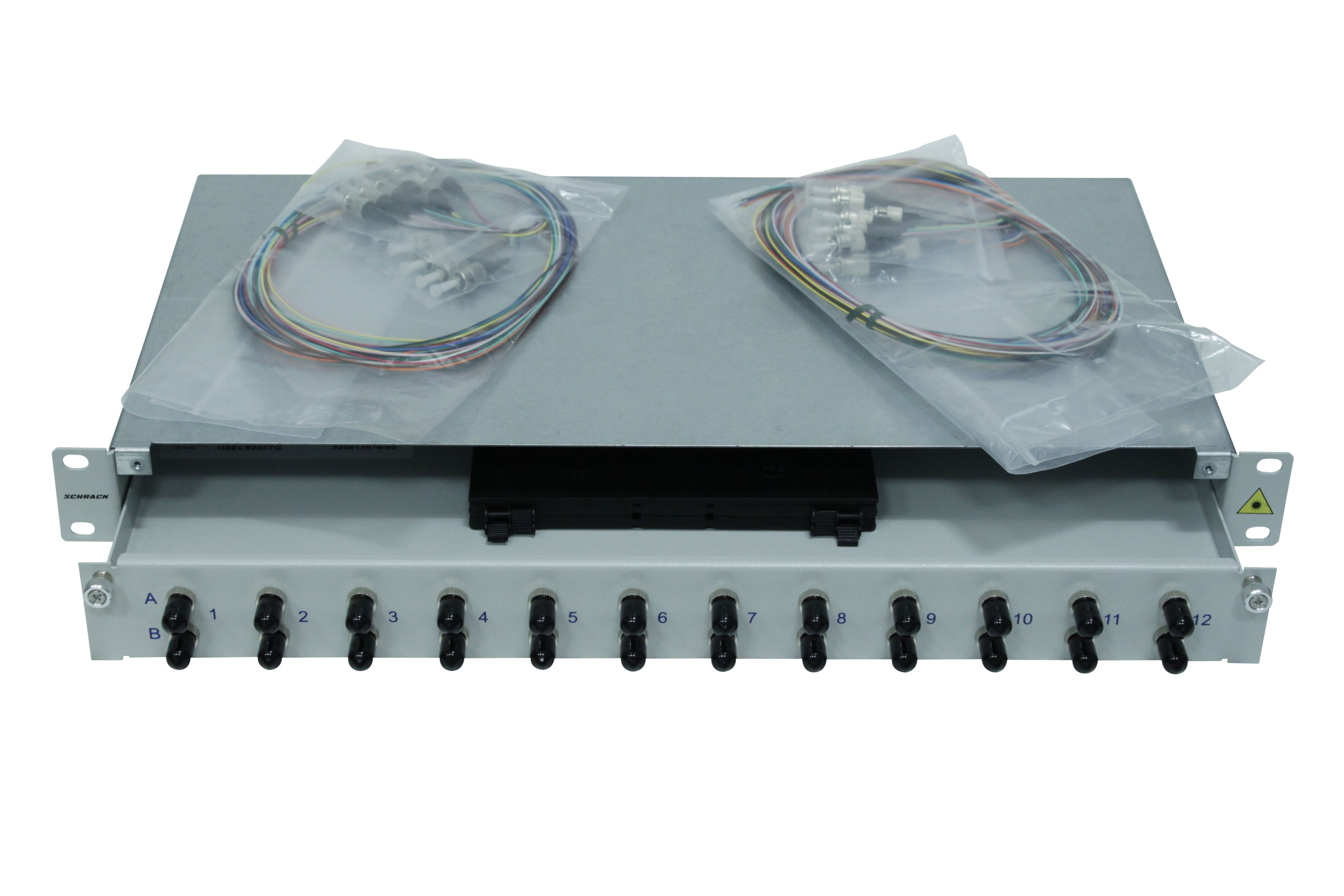 1 Stk LWL Spleißbox,16Fasern,ST,50/125µm OM2, ausziehbar,19,1HE HSELS165TG