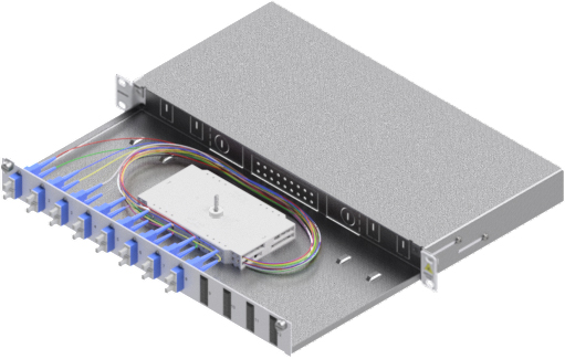 1 Stk LWL Spleißbox,16Fasern,SC, 9/125µm OS2, ausziehbar,19,1HE HSELS169CG