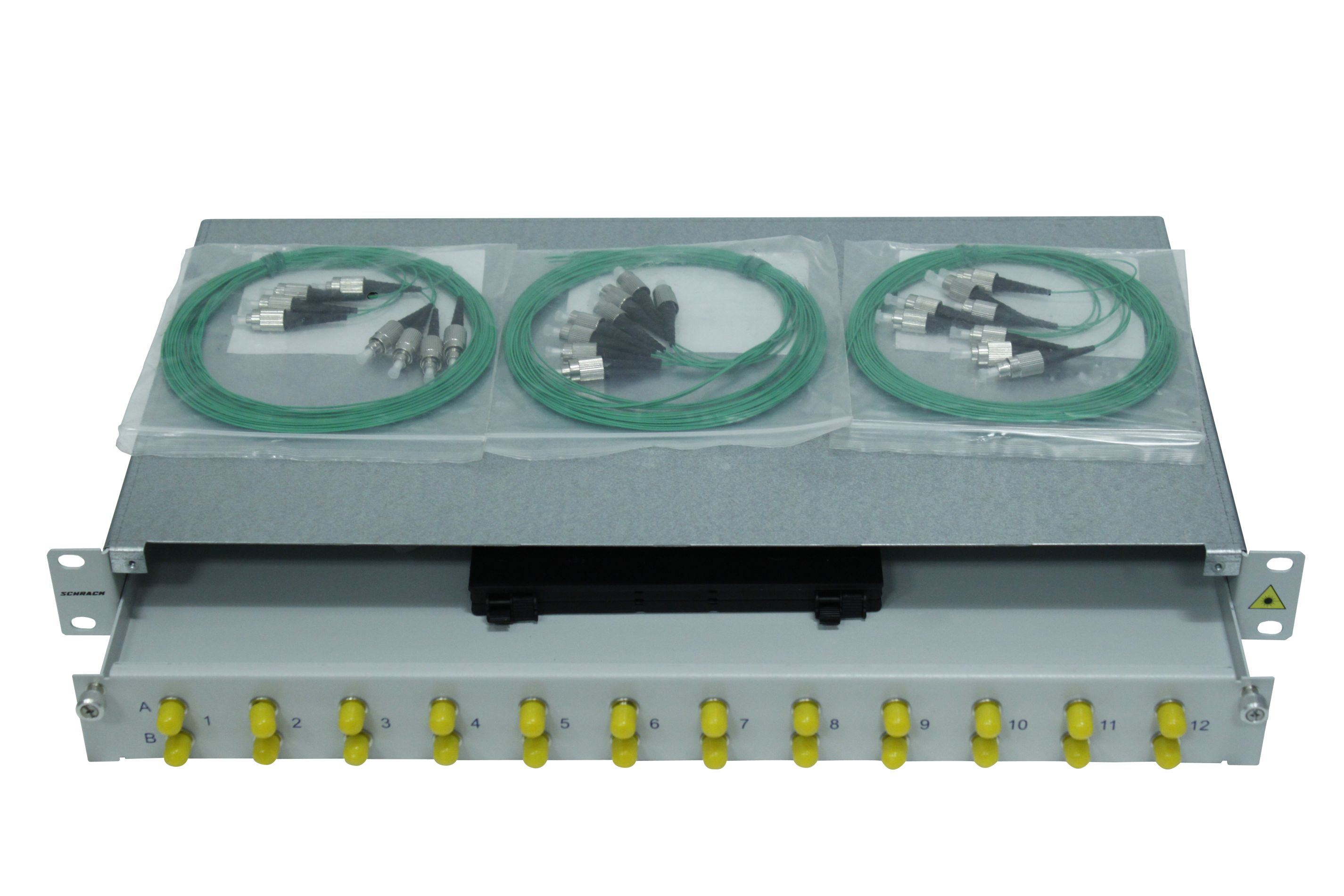 1 Stk LWL Spleißbox,16Fasern,FC, 9/125µm OS2, ausziehbar,19,1HE HSELS169FG