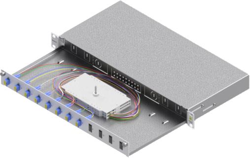 1 Stk LWL Spleißbox,16Fasern,LC, 9/125µm OS2, ausziehbar,19,1HE HSELS169LG