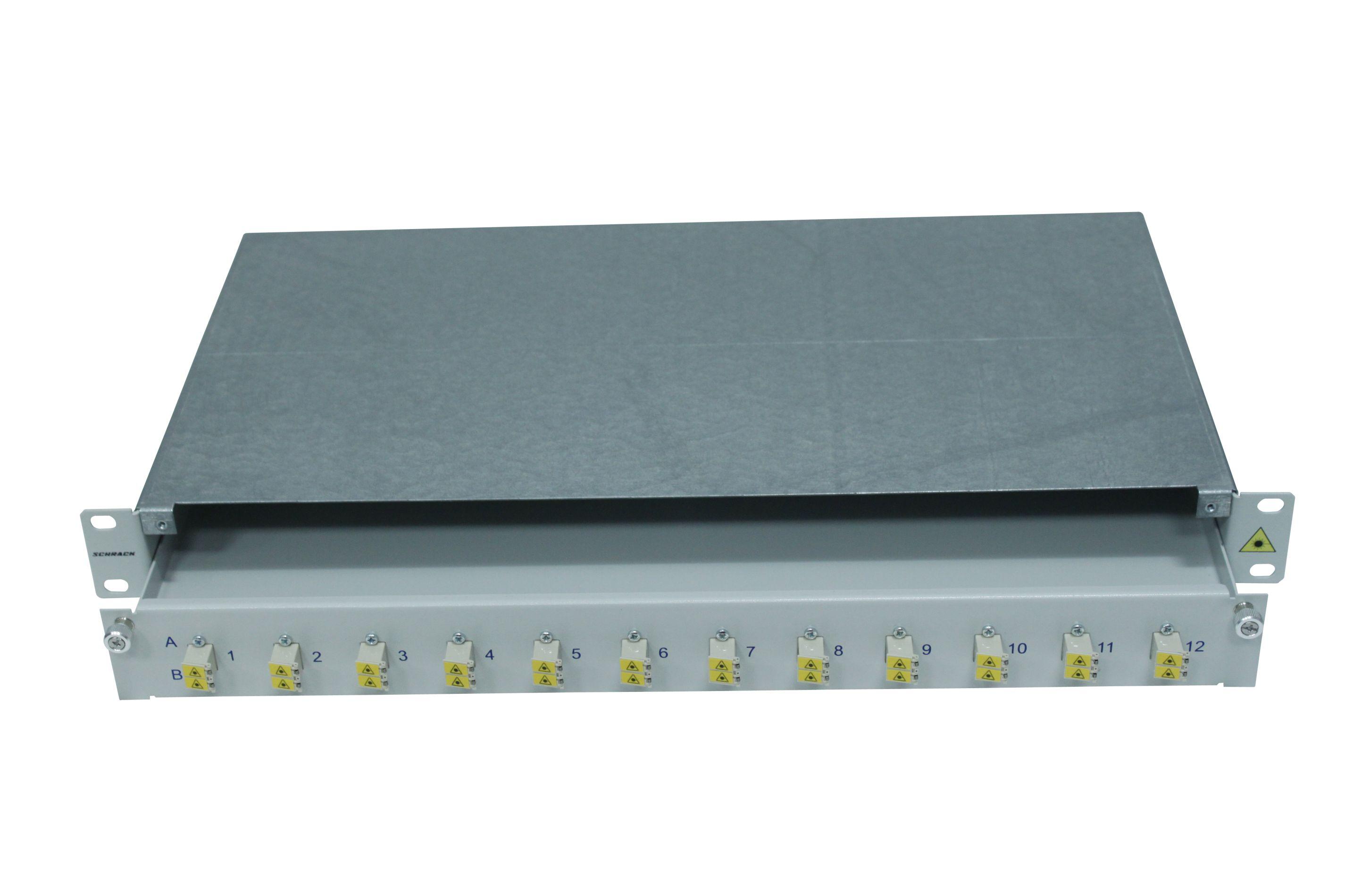 1 Stk LWL Patchpanel 19, 1 HE, ausziehbar, für 16 Fasern, LC, SM HSELS16SLG