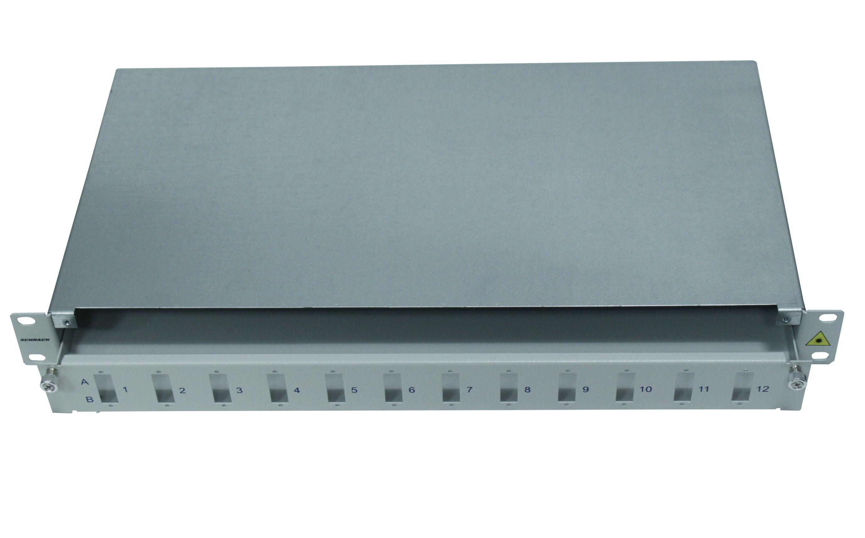 1 Stk LWL Spleißbox leer für 12 SC-Duplex Kupplungen, 1HE, RAL7035 HSELS240CG