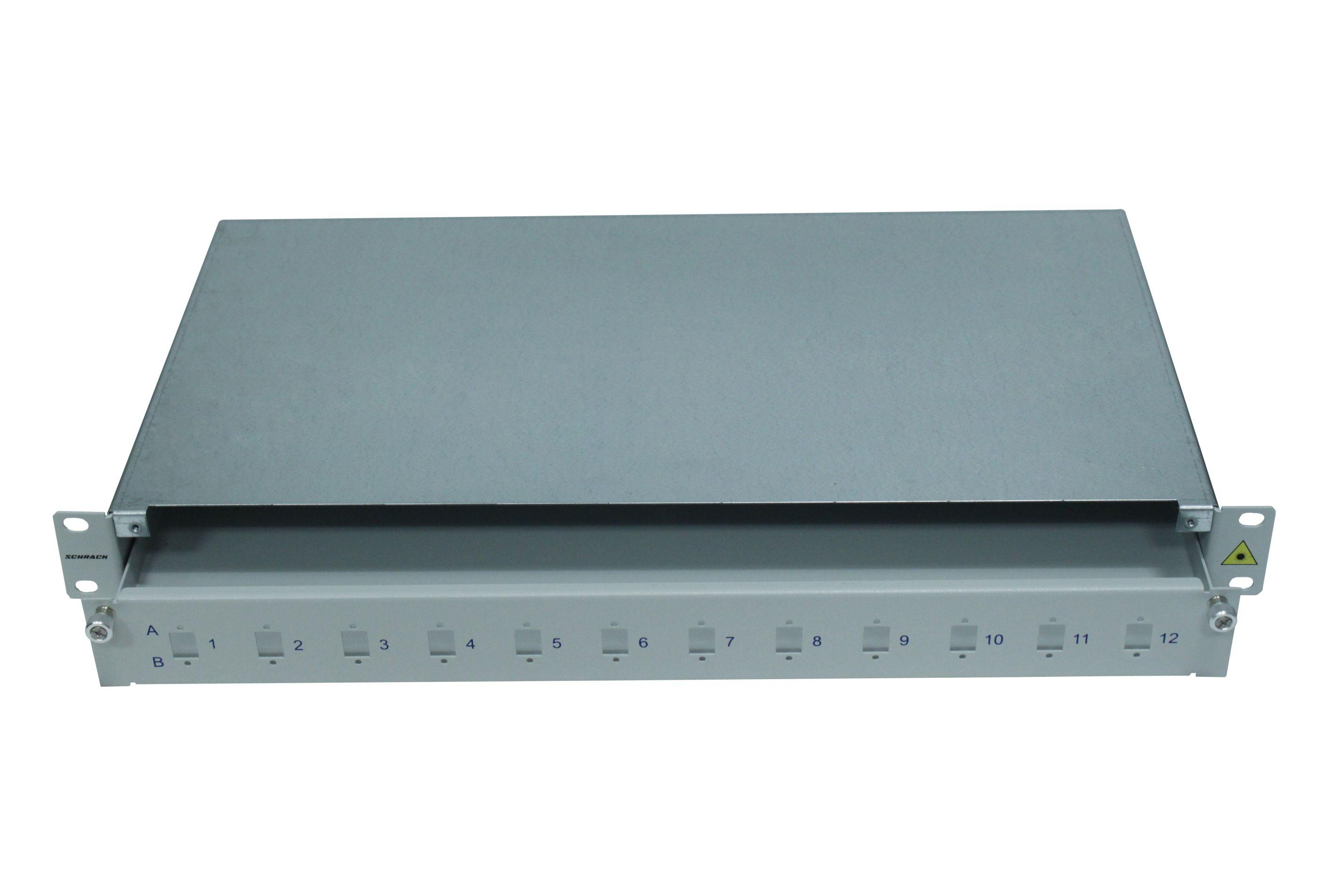 1 Stk LWL Spleißbox leer für 12 LC-Duplex Kupplungen, 1HE, RAL7035 HSELS240LG