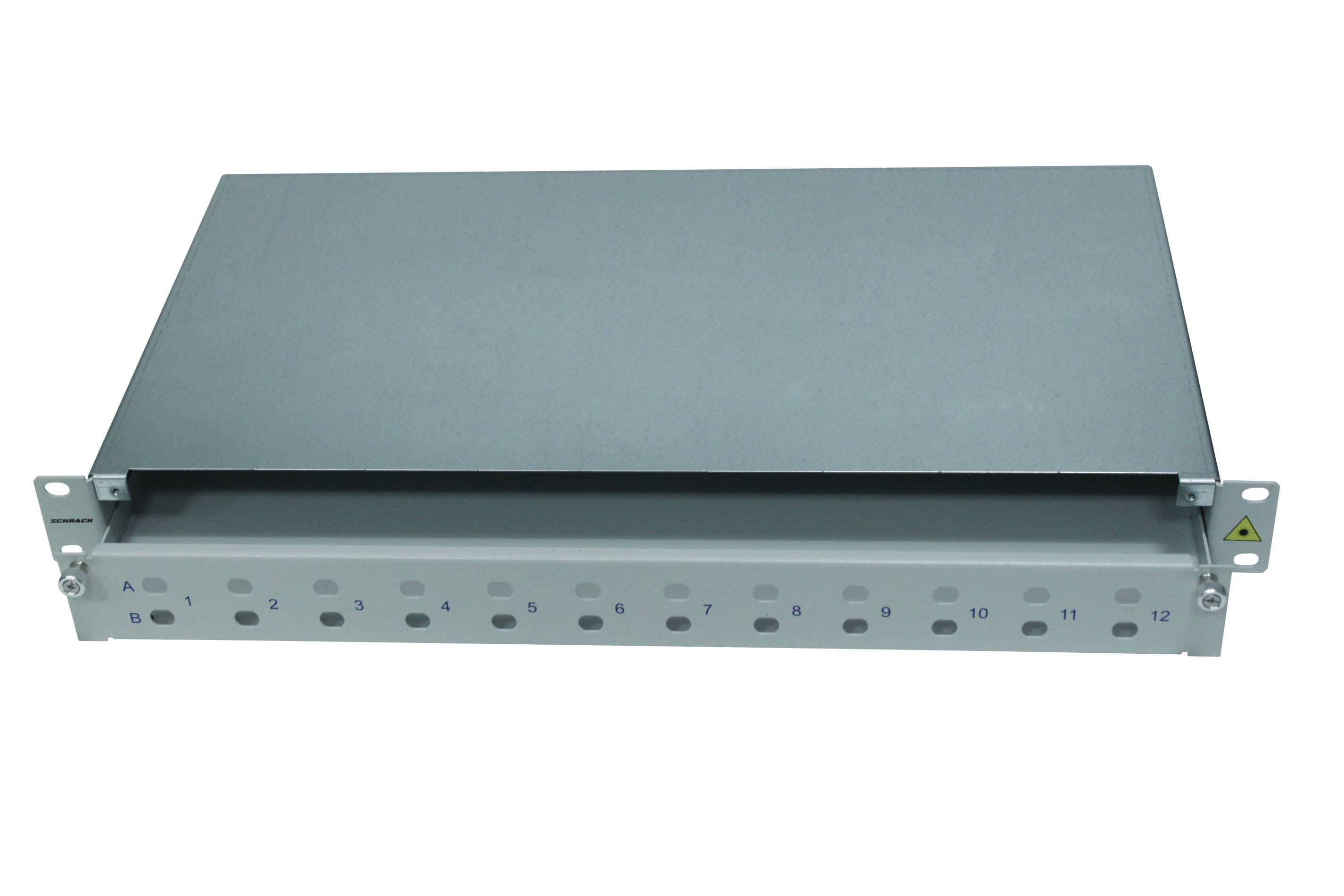 1 Stk LWL Spleißbox leer für 24 ST oder FC Kupplungen, 1HE,RAL7035 HSELS240TG