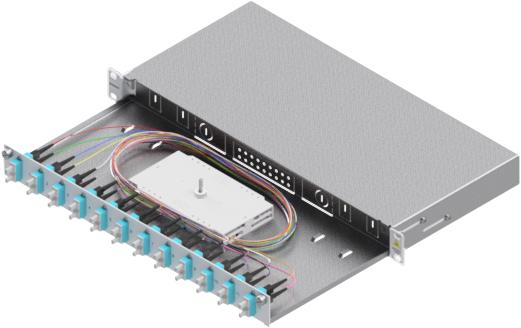 1 Stk LWL Spleißbox,24Fasern,SC,50/125µm OM3, ausziehbar,19,1HE HSELS243CG