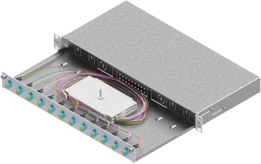 1 Stk LWL Spleißbox,24Fasern,LC,50/125µm OM3, ausziehbar,19,1HE HSELS243LG