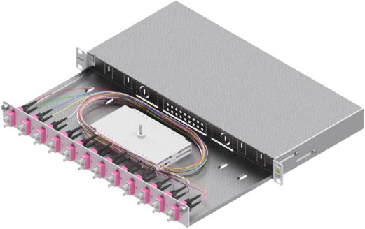 1 Stk LWL Spleißbox,24Fasern,SC,50/125µm OM4, ausziehbar,19,1HE HSELS244CG