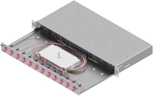 1 Stk LWL Spleißbox,24Fasern,LC,50/125µm OM4, ausziehbar,19,1HE HSELS244LG