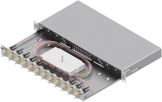 1 Stk LWL Spleißbox,24Fasern,SC,50/125µm OM2, ausziehbar,19,1HE HSELS245CG