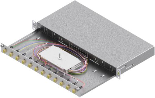 1 Stk LWL Spleißbox,24Fasern,LC,50/125µm OM2, ausziehbar,19,1HE HSELS245LG