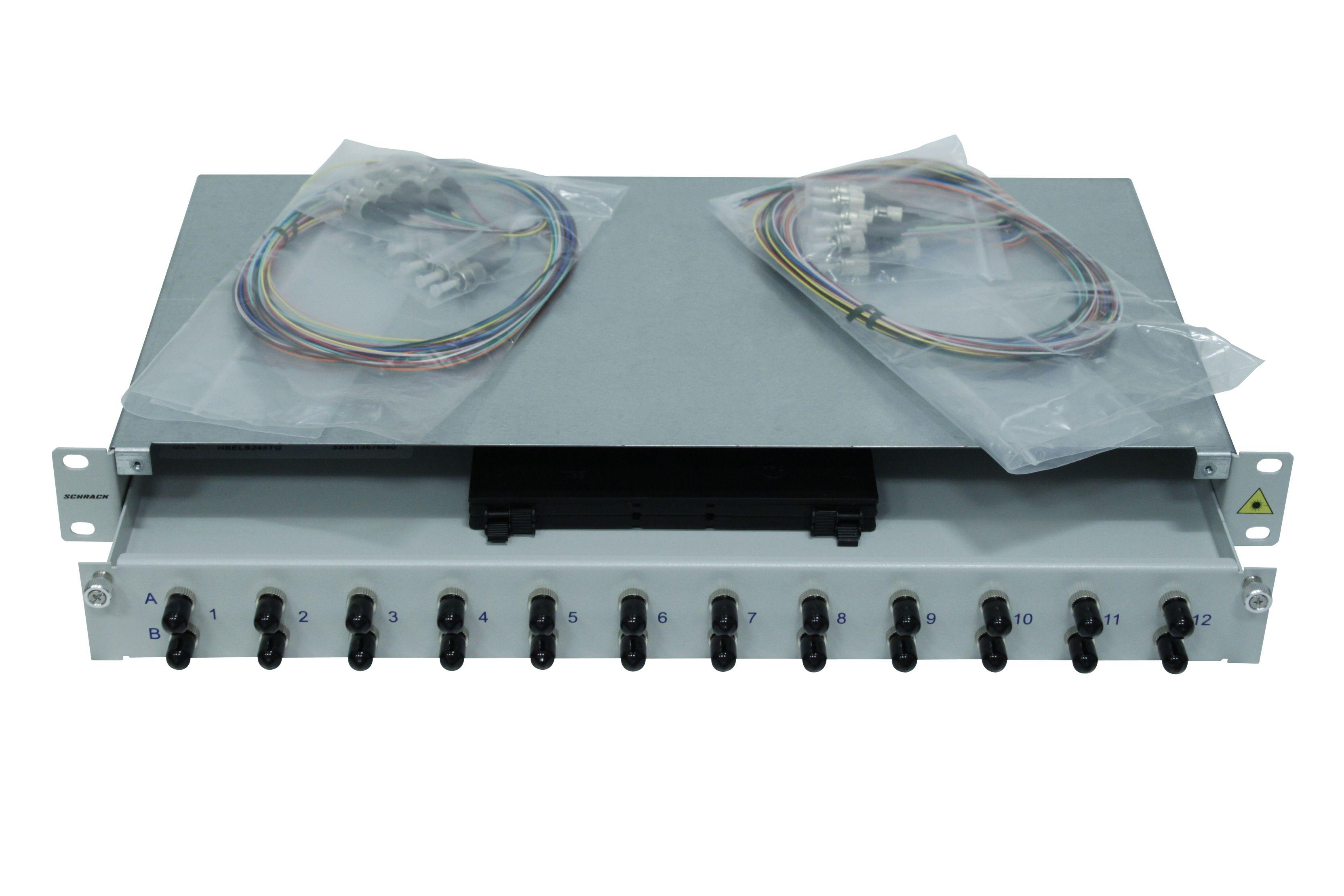 1 Stk LWL Spleißbox,24Fasern,ST,50/125µm OM2, ausziehbar,19,1HE HSELS245TG