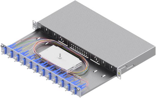 1 Stk LWL Spleißbox,24Fasern,SC, 9/125µm OS2, ausziehbar,19,1HE HSELS249CG