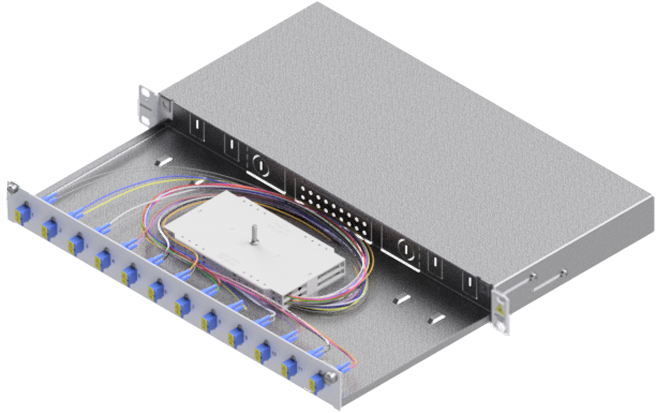 1 Stk LWL Spleißbox,24Fasern,LC, 9/125µm OS2, ausziehbar,19,1HE HSELS249LG