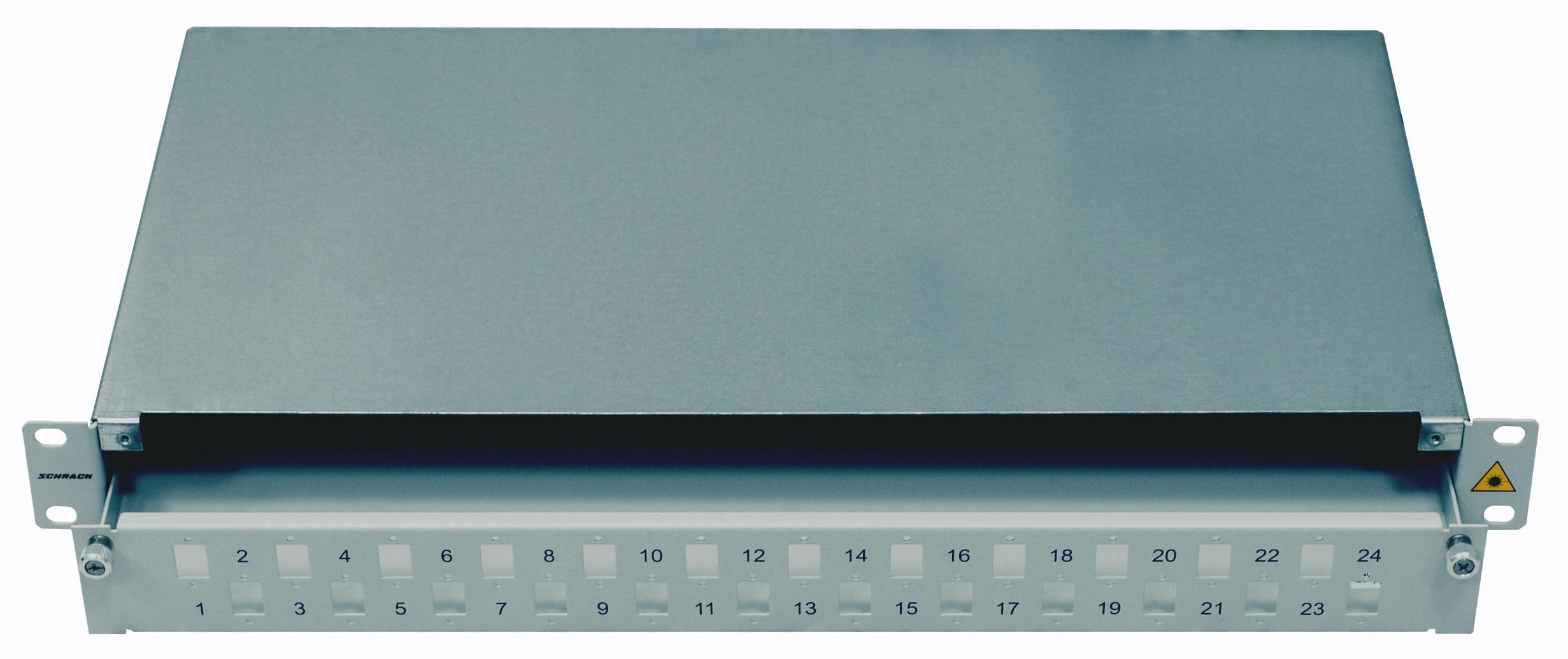 1 Stk LWL Spleißbox leer für 24 LC-Duplex Kupplungen, 1HE, RAL7035 HSELS480LG