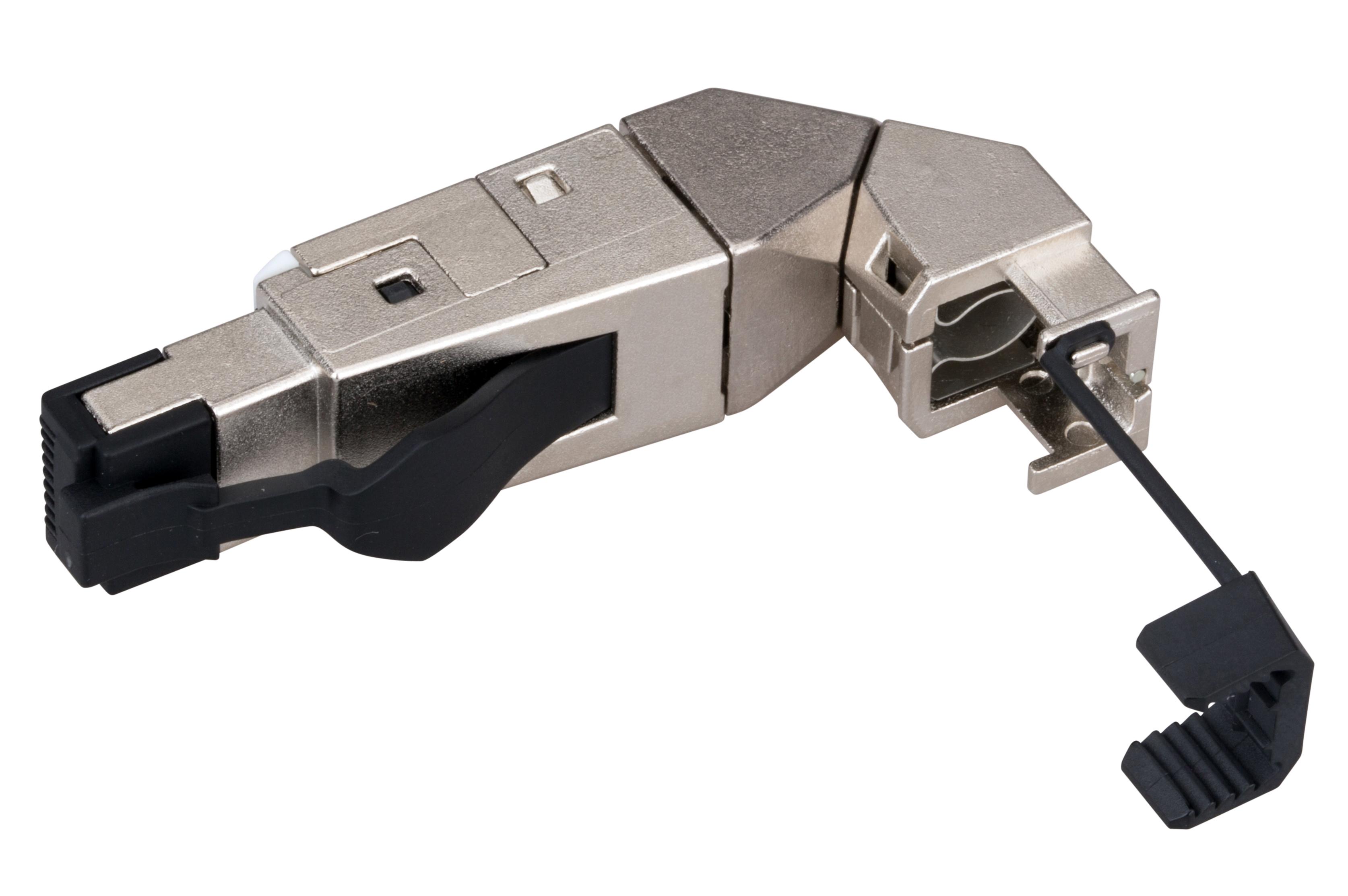 1 Stk Feldkonfektionierbarer RJ45 Ind.-Stecker gesch.Cat.6a,Winkel HSISR6SI3W