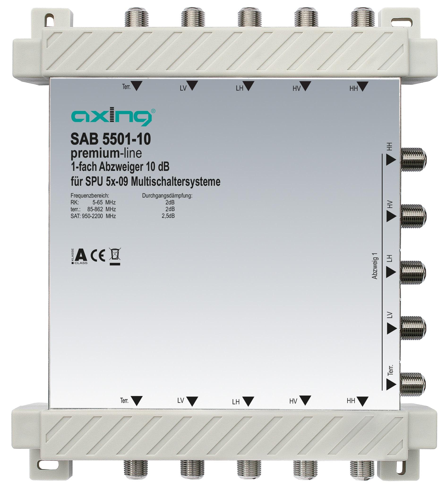 1 Stk 1-fach Abzweiger, 5 in 5, 10 dB, 5 bis 2200 MHz, SAB5501-10 HSZUV55110