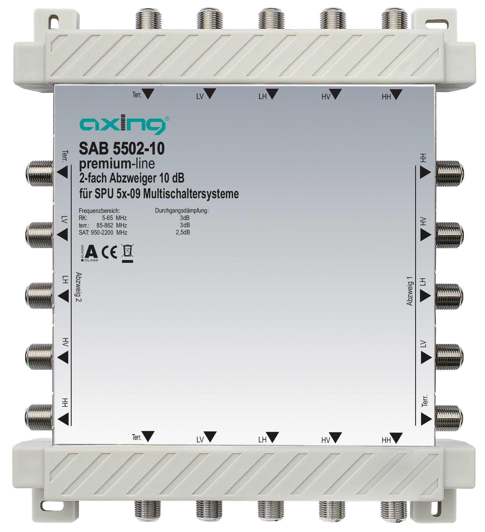 1 Stk 2-fach Abzweiger, 5 in 5, 10 dB, 5 bis 2200 MHz, SAB5502-10 HSZUV55210