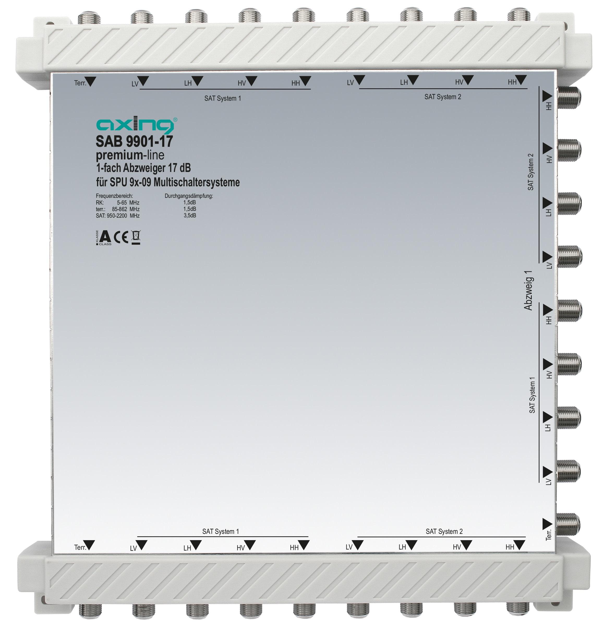 1 Stk 1-fach Abzweiger, 9 in 9, 17 dB, 5 bis 2200 MHz, SAB9901-17 HSZUV99117