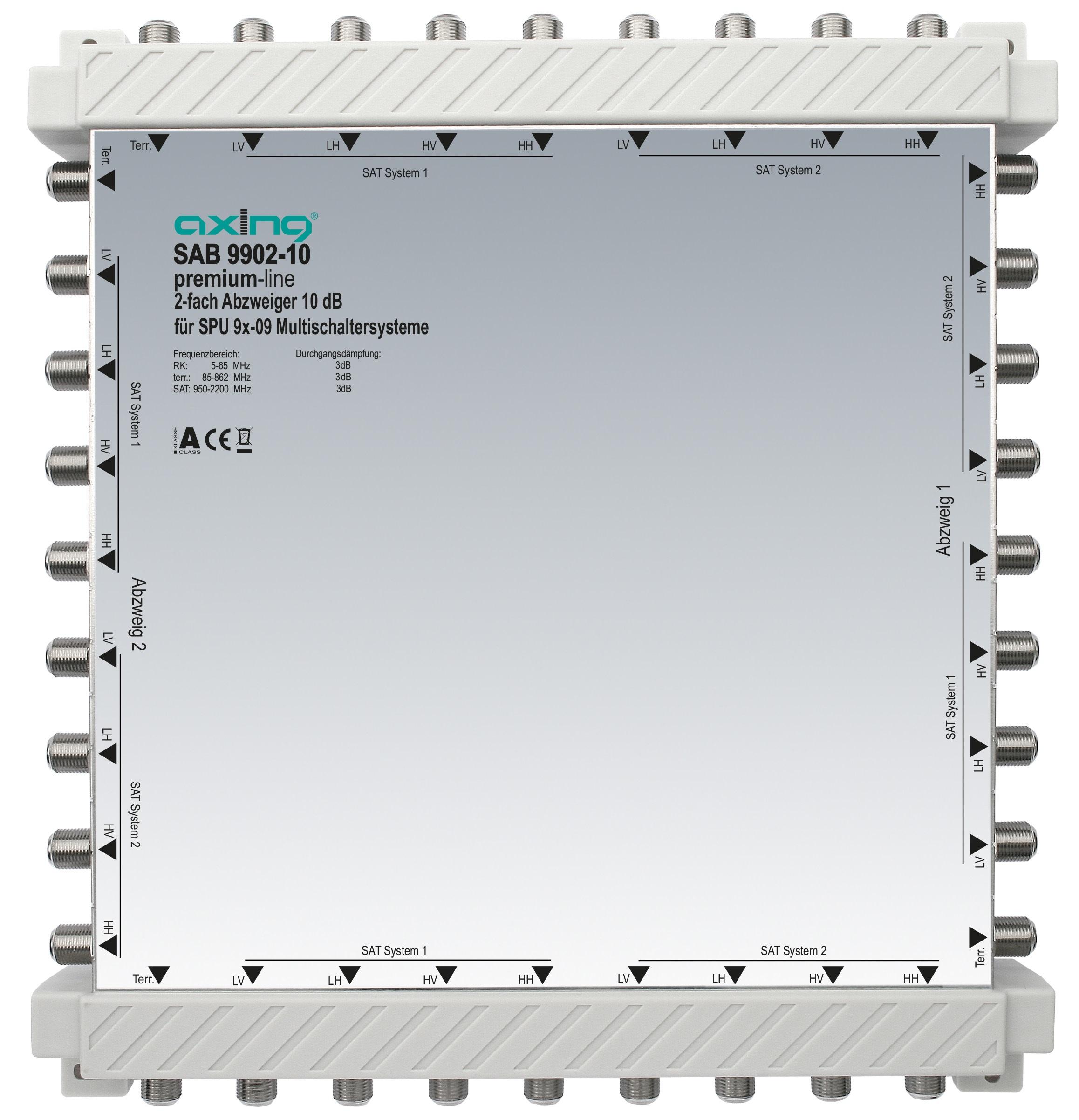 1 Stk 2-fach Abzweiger, 9 in 9, 10 dB, 5 bis 2200 MHz, SAB5501-10 HSZUV99210