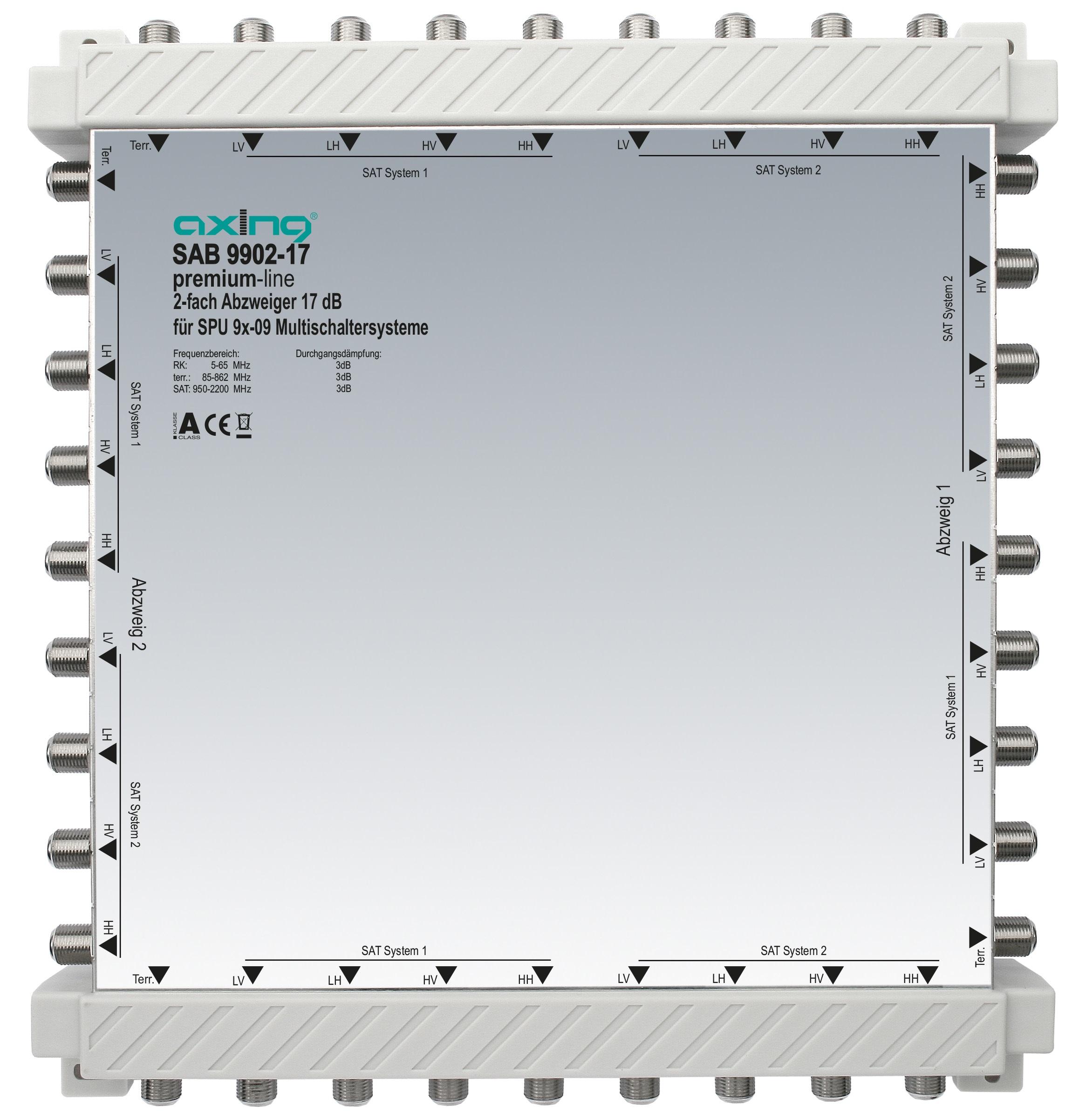 1 Stk 2-fach Abzweiger, 9 in 9, 17 dB, 5 bis 2200 MHz, SAB9902-17 HSZUV99217